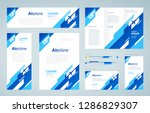 airplane theme set flyer cover  ...   Shutterstock .eps vector #1286829307