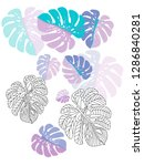 vector tropical pattern with... | Shutterstock .eps vector #1286840281