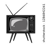 old tv set template in vintage... | Shutterstock . vector #1286842261