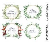 vector set of round frames. red ... | Shutterstock .eps vector #1286843527