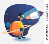 virtual reality headset   vr...   Shutterstock .eps vector #1286844181