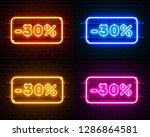 neon 30 off text banner color... | Shutterstock .eps vector #1286864581
