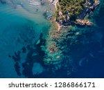 drone shot of beach in aegean... | Shutterstock . vector #1286866171