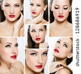 collage of a beautiful woman... | Shutterstock . vector #128686919