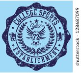 college badge vector art | Shutterstock .eps vector #128687099