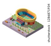 city stadium with soccer field... | Shutterstock .eps vector #1286871934
