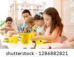 kindergarten children doing...   Shutterstock . vector #1286882821