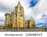 gothic cathedral of leon ... | Shutterstock . vector #128688515