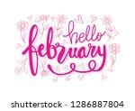 hello february hand lettering | Shutterstock .eps vector #1286887804