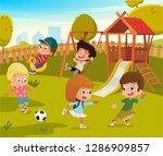 baby playground summer park... | Shutterstock .eps vector #1286909857