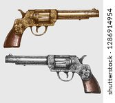 vintage beautiful revolvers... | Shutterstock .eps vector #1286914954