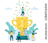 people are happy to big gold... | Shutterstock .eps vector #1286916544