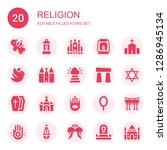 religion icon set. collection...   Shutterstock .eps vector #1286945134