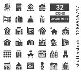 apartment icon set. collection... | Shutterstock .eps vector #1286956747