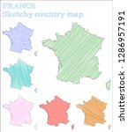 france sketchy country.... | Shutterstock .eps vector #1286957191