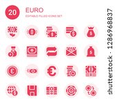 euro icon set. collection of 20 ... | Shutterstock .eps vector #1286968837