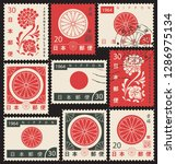 set of vector postage stamps on ... | Shutterstock .eps vector #1286975134