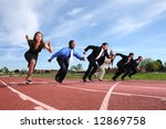 Businesspeople Race On Track