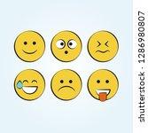 set of smile icons. emoji.... | Shutterstock .eps vector #1286980807