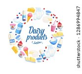 dairy products icons. cottage...   Shutterstock .eps vector #1286994847