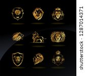 vector emblems with golden lions | Shutterstock .eps vector #1287014371