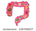 food in large intestine. large... | Shutterstock .eps vector #1287038527