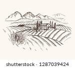 vector vintage illustration... | Shutterstock .eps vector #1287039424
