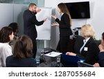 irritated boss standing near...   Shutterstock . vector #1287055684