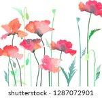 poppy flowers in watercolor...   Shutterstock .eps vector #1287072901