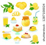 lemon food vector lemony yellow ... | Shutterstock .eps vector #1287100024
