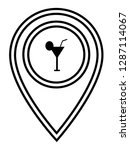 drink icon and map pin. logo...