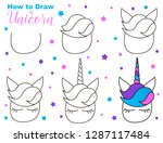 how to draw cute unicorn. easy... | Shutterstock .eps vector #1287117484