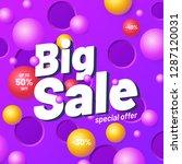 big sale banner template purple.... | Shutterstock . vector #1287120031