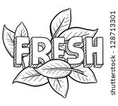 doodle style fresh food or... | Shutterstock .eps vector #128713301