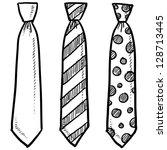 doodle style necktie assortment ... | Shutterstock .eps vector #128713445