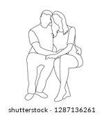 guy and girl sit | Shutterstock .eps vector #1287136261