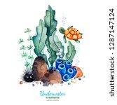 underwater creatures.watercolor ... | Shutterstock . vector #1287147124