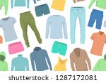 seamless pattern with clothes....   Shutterstock . vector #1287172081