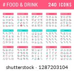 big collection of linear icons. ... | Shutterstock .eps vector #1287203104