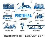 portugal landmarks set.... | Shutterstock .eps vector #1287204187