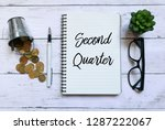 top view of coins glasses plant ...   Shutterstock . vector #1287222067
