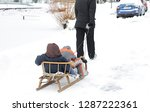 sledge being pulled through the ... | Shutterstock . vector #1287222361