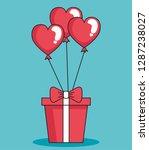 balloons helium in shape heart... | Shutterstock .eps vector #1287238027