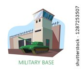 USA military base building and tank. American construction with watchtower and fence with barbed wire. US camp for special forces with artillery vehicle. War and authority,troop and architecture theme