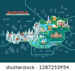 landmarks map of austria.... | Shutterstock .eps vector #1287253954