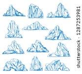 set of isolated icebergs sketch ... | Shutterstock .eps vector #1287253981