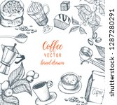 hand drawn illustration  coffee ... | Shutterstock .eps vector #1287280291