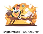 angry and exasperated worker... | Shutterstock .eps vector #1287282784