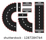 race track road set with start... | Shutterstock .eps vector #1287284764