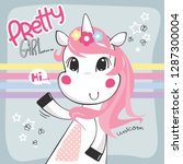 cute cartoon unicorn girl... | Shutterstock .eps vector #1287300004